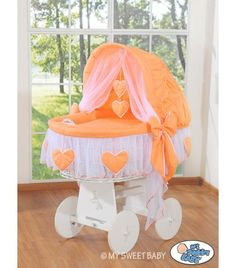 Hand made Wicker Crib Vintage Moses Basket bassinet  Hearts - Peach-White - BabyShoppingMarket.com - €239,00 #babyshoppingmarket #wicker #crib