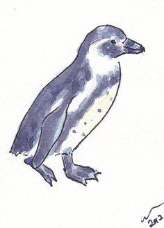 ACEO Walking Penguin Original Watercolour & Ink by ClareSherwen, £3.00