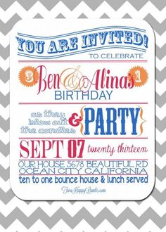 Joint/Combined Toddler Birthday Party Invitation #birthdayinvite | Two Happy Lambs: