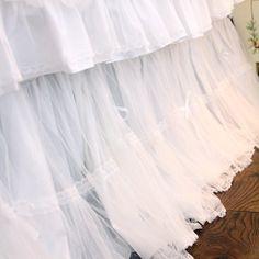 White Dot Mesh Bed Skirt.Shabby Chic Dust Ruffle. Luxury Lace Dust Ruffle.
