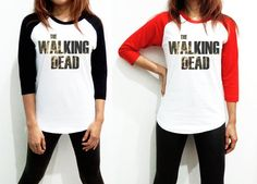 Unisex - The Walking Dead - Text American US Movie Thriller Horror Hollywood Men Women Long Sleeve Baseball Shirt Tshirt Jersey