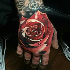 Realistic Rose Tattoo on Hand