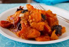 Sweet potatoes tzimmes recipe. Vegan GF Traditional Jewish New Year's Eve Food. With fresh and dried fruits.