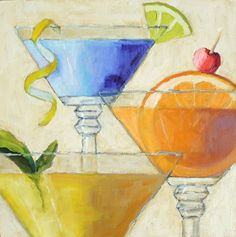 """Happy Hour by Pat Doherty Oil ~ 10"""" x 10"""""""