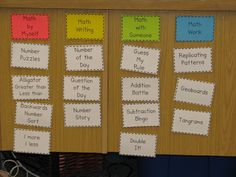 Great way to organize and set-up Math Daily 5