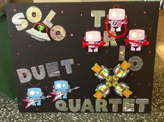 Solo, Trio, Duet, Quartet board. The quartet spins!