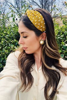 headband hairstyles Marigold Yellow Pearl Knot Satin Headband Crown, Large Ivory Turban Tie Knotted Headband, Races Headpiece, Gold Satin Headband Designed on a ve Pearl Headband, Crown Headband, Hair With Headband, Headband Baby, Satin, Fall Hair Trends, Gold Headpiece, Yellow Pearl, Bandana Hairstyles