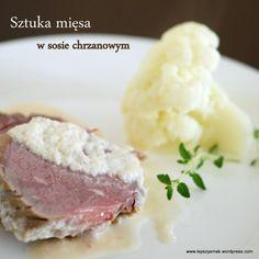 Sztuka mięsa z sosem chrzanowym