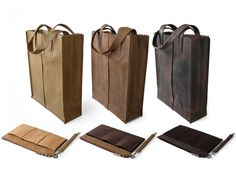 'MY PAPER BAG' Leather Totes.