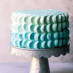 A metal cake stand with funfetti cake, decorated with buttercream petals. Ombre smash cake for baby boy's first birthday. Baby First Cake, Baby Boy First Birthday, Baby Boy Cakes, First Birthday Cakes, Cakes For Boys, Cake For Baby, Kid Cakes, Smash Cake Recipes, Cake Smash