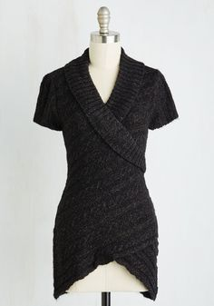 Each time the seasons change, you style this cap-sleeved sweater in a new way and set out to survey your yard's updated appearance. With a heathered black hue, diagonal cable knit, and surplice detailing at both the shawl collar and hem, this lovely layering piece is a cute and comforting style in which to explore!