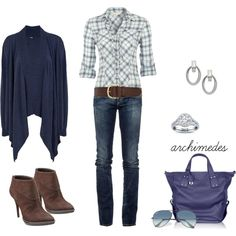 Casual Saturday Blues by archimedes16 on Polyvore featuring Dash, Red Herring, Roÿ Roger's, Nine West, McQ by Alexander McQueen, Lauren Ralph Lauren, Ray-Ban, Warehouse, ankle boots and skinny jeans