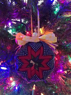 Ready To Ship Quilted Ornament Handmade Ornament 4th by CatDKnits