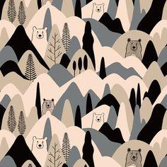 【森のくま】Orie's animal textile design. #くま #bear #動物 #イラスト #テキスタイルデザイン #textile #design #柄 #デザイン Textile Patterns, Textile Design, Textiles, Abstract Animals, Sewing Toys, Stuffed Animal Patterns, Illustrations And Posters, Baby Room Decor, Diy Toys