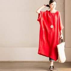 d62f55c015 Red Literature And Art Dark Grain Long Cotton And Linen Female Dress Women  Clothes Female Dress