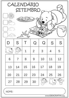 Calendários Setembro 2015 Turma do Ursinho Pooh Educação Infantil 9 And 10, Word Search, Diagram, Education, Words, Fictional Characters, Routine, Frozen, Ideas