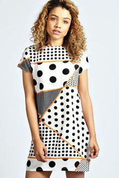 Susie Spot Mixed Print Shift Dress at boohoo.com 30.00