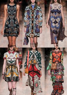 #Fashion #textiles Valentino #SS15: Underwater Sea Creatures – Psychedelic Floral Motifs – Graphic Scarf Prints – Elaborate Borders and Placement – Floral Outlines – Oversize Prints