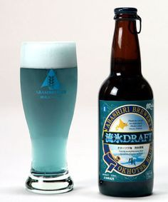 Abashiri created the world's first blue beer! They get the blue colour by brewing with seaweed