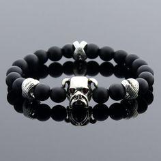 Mens Onyx Bracelet Gemstone Bracelet Bulldog Bracelet
