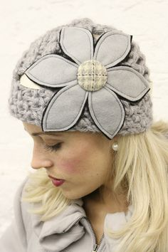 Gray Felt Flower Cloche