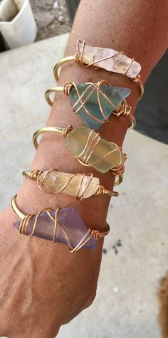 Sea glass And clear quartz Gold cuffs #seaglassbracelet #BohoJewelry
