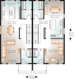 D tail du plan de maison unifamiliale w1700 jb for Multi family plans for narrow lots