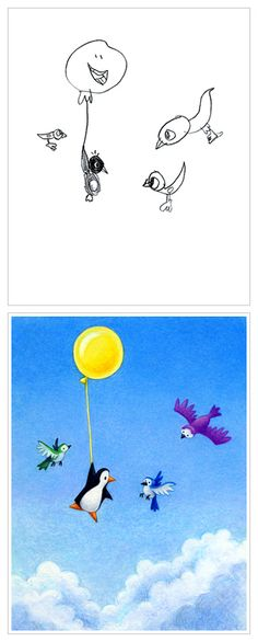 kids' art reimagined: Penguin's Balloon by Aaron Zenz, based on a drawing by Lily age 5
