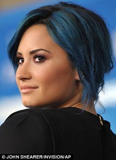True colors: Demi Lovato's blue hair complimented her flawless olive complexion