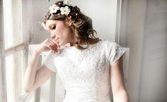 Side Cascade Flower Crown Vintage Weddig bridal by deLoop on Etsy, $65.00