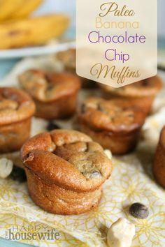 Paleo Banana Chocolate Chip Muffins - Made these today with some added flax and chia seeds and they were quite good and very simple!