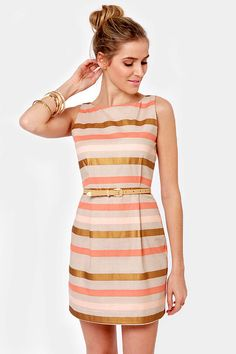 BB Dakota Delaine Dress - Sheath Dress - Striped Dress - $82.00