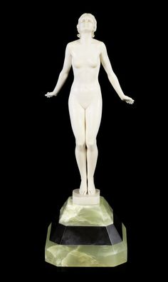 Ferdinand Preiss 'Spring Sun' a Carved Ivory Figure, circa 1925 raised on a faceted onyx and marble base 28.5cm high, carved 'F. Preiss'