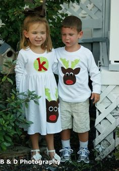 Brother Sister Sibling Set -  Christmas Applique Outfits  - Great for Fall Photo Shoot or Family Pictures. $56.00, via Etsy.