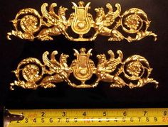 PAIR FRENCH EMPIRE ANTIQUE GOLD GILT DORE RESIN WALL PLAQUE MOULDING DECORATION