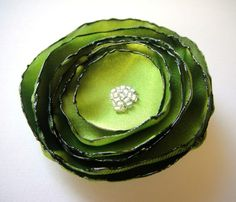woodbine olive green rose flower brooch by ayawedding on Etsy, $12.00