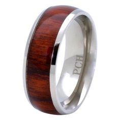 Titanium Hawaiian Koa Wood Wedding Band 8mm Comfort Fit Ring