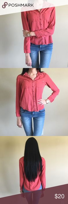 BP Distressed burnt orange-red button-down top BP Distressed burnt orange-red button-down top, purchased from Nordstrom! bp Tops Button Down Shirts