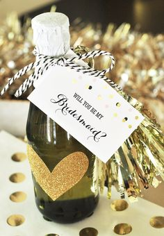 Will You Be My Bridesmaid Tags for Wine Bottle Labels Tags - unique ways to ask a bridesmaid and maid of honor with gift tags