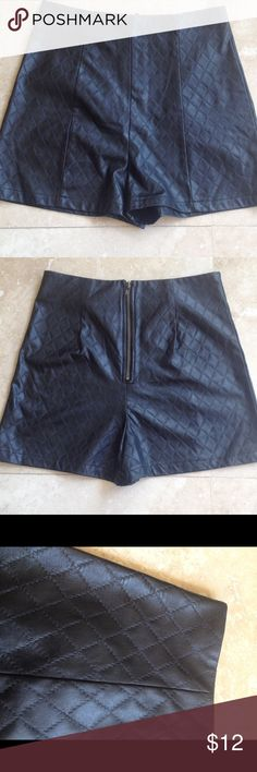 Basic Black Pleather Summer Shorts Every closet needs black shots ...Why not pleather ??? Perfect to complete you summer outfit . Quilted fabric. Waist measures 25. Rise is 12 and inseam is 2. High waisted. Back zipper. Sans Souci Shorts
