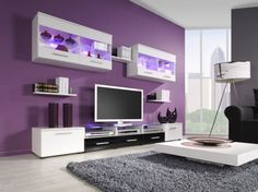 Tripod Floor Lamp Feats Nice Purple Living Room Wall Paint With Cool Storage Unit Plus White Low Profile Coffee Table
