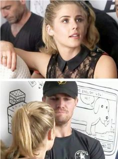 Emily Bett Rickards and Stephen Amell #SDCC