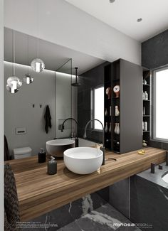 Marble Bathrooms 509891989051458596 - The hero of this bathroom design is the vanity. The palette is Walnut timber, pietra grey marble and grace Bisazza tiles. Minosa Design: Small space feels large Source by JulieGMB Large Bathroom Design, Large Bathrooms, Bathroom Interior Design, Modern Interior Design, Bathroom Designs, Bad Inspiration, Bathroom Inspiration, Bathroom Ideas, Minimalist Bathroom