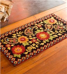 Hooked Wool Floral Paisley Hearth Rug