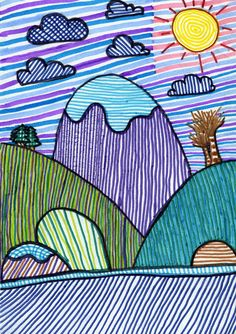 Have them use various lines for a landscape Art Lessons For Kids, Art Lessons Elementary, Kids Art Class, Art For Kids, Art Drawings For Kids, Drawing For Kids, Easy Drawings, Line Art Projects, Arte Elemental