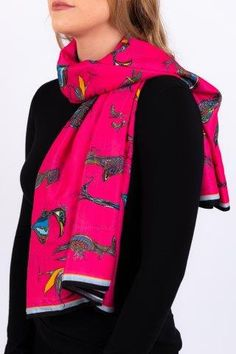Silk Cotton Scarf Pink Birds Wearing Shoes Fashion of Ireland Irish Fashion Irish Design Made in Ireland Irish Made Wearing Irish Irish Knitwear Irish Jewellery