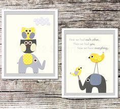 Yellow and grey Nursery Art Print Set, 8x10, Childrens Room Decor,  Baby Wall Art - love bird, grey elephant, grey nursery, owl. $27.95, via Etsy.