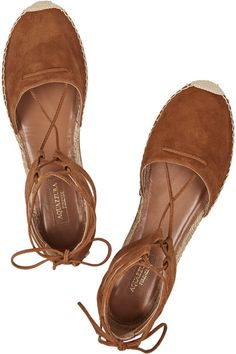 Sole measures approximately 20mm/ 1 inch Brown suede Ties at ankle  Designer color: CaffèLarge to size. See Size & Fit tab.