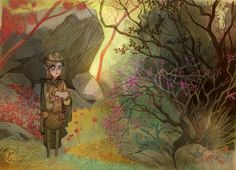 Elf - Cory Loftis // note the vegetation, red trees, dark and light. very good.