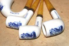 4 Vintage Delft Holland Pipes, Butterscotch Bakelite Handles, Porcelain Painted Blue, Antique Alchemy on Etsy, $90.97 CAD